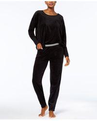 Hue - Black Solid Velour Lounge Pajama Set - Lyst