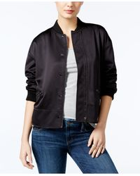 Guess - Black Astor Ruched Bomber Jacket - Lyst