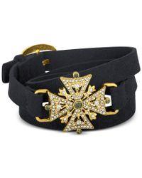 RACHEL Rachel Roy   Black Gold-tone Pave Faux Suede Wrap Bracelet   Lyst