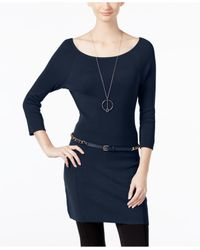 INC International Concepts | Blue Belted Tunic Sweater, Only At Macy's | Lyst