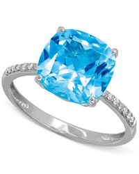 Macy's | Blue Topaz (5-1/4 Ct. T.w.) And Diamond Accent Ring In 14k White Gold | Lyst