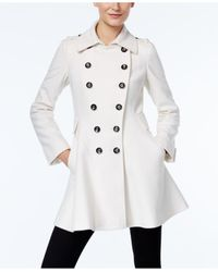Via Spiga | White Double-breasted Flared Swing Coat | Lyst