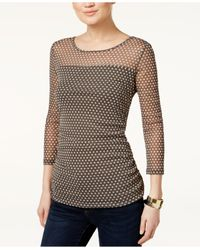 INC International Concepts | Gray Illusion Polka-dot Top, Only At Macy's | Lyst