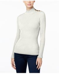INC International Concepts | White Mock-neck Button-trim Sweater, Only At Macy's | Lyst