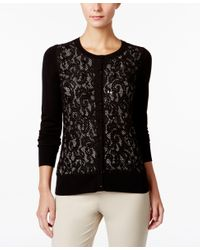 Charter Club - Black Sequined Lace Cardigan, Only At Macy's - Lyst