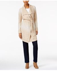 Style & Co. | Natural Petite Belted Space-dye Wrap Cardigan | Lyst