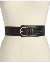 INC International Concepts | Black Asymmetrical Woven Stretch Belt | Lyst