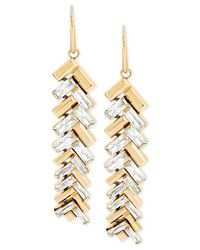Michael Kors | Metallic Gold-tone Chevron Baguette Drop Earrings | Lyst