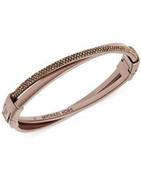 Michael Kors | Metallic Sable-tone Crystal Crisscross Hinge Bracelet | Lyst