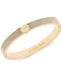 Michael Kors | Metallic Logo Disc Pavé Hinge Bangle | Lyst