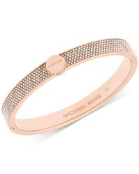 Michael Kors | Pink Logo Disc Pavé Hinge Bangle | Lyst