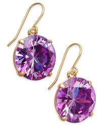 kate spade new york | Purple Shine On Gold-tone Crystal Drop Earrings | Lyst