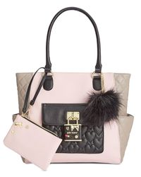 Betsey Johnson | Pink 2-in-1 Pin Tote With Pouch | Lyst