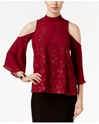 Eci | Red Lace-applique Cold-shoulder Top | Lyst