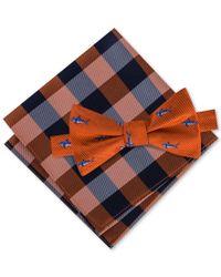 Tommy Hilfiger | Orange Men's Shark Print Bow Tie & Gingham Pocket Square Set for Men | Lyst