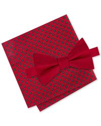 Tommy Hilfiger | Red Men's Solid Bow Tie & Holiday Tree Print Pocket Square Set for Men | Lyst