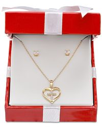 Giani Bernini - Metallic Cubic Zirconia Heart And Cross Pendant Necklace And Stud Earrings Set In 18k Gold-plated Sterling Silver - Lyst