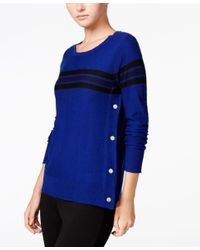 Maison Jules | Blue Striped Button-detail Sweater, Only At Macy's | Lyst