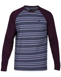 Hurley | Blue Men's Stripe Thermal-knit Raglan-sleeve T-shirt for Men | Lyst