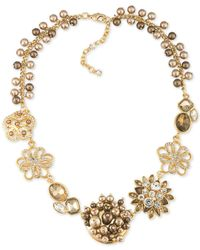 Carolee | Metallic Gold-tone Crystal And Imitation Pearl Flower Frontal Necklace | Lyst