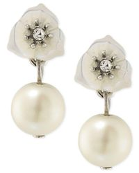 Carolee | White Silver-tone Crystal And Imitation Pearl Double Drop Earrings | Lyst