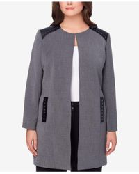 Tahari | Gray Plus Size Faux-leather-trim Topper Jacket | Lyst