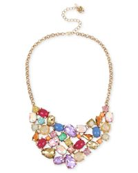 Betsey Johnson | Metallic Gold-tone Multicolor Stone And Crystal Collar Necklace | Lyst