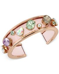Betsey Johnson | Pink Rose Gold-tone Multicolor Stone Cuff Bracelet | Lyst