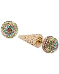 Betsey Johnson | Metallic Gold-tone Pavé Ice Cream Cone Earring Jackets | Lyst