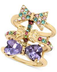 Betsey Johnson - Metallic Gold-tone Multi-crystal Multi-row Bow Tie Ring - Lyst