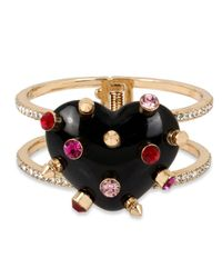 Betsey Johnson | Metallic Gold-tone Black Heart Hinged Bangle Bracelet | Lyst