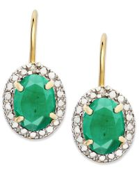 Macy's | Green 18k Gold Over Sterling Silver Earrings, Emerald (2-1/5 Ct. T.w.) And Diamond Accent Leverback Earrings | Lyst