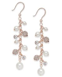 Charter Club | Multicolor Silver-tone Imitation Pearl And Crystal Vine Earrings | Lyst