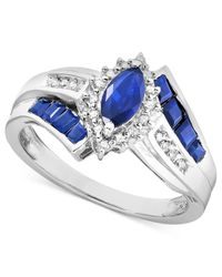 Macy's | Blue Sapphire (1-1/5 Ct. T.w.) And Diamond Accent Ring In Sterling Silver | Lyst