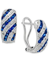 Macy's | Blue Sapphire (1 Ct. T.w.) And Diamond Accent Omega Earrings In Sterling Silver | Lyst