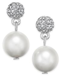Charter Club | Metallic Silver-tone Fireball Imitation Pearl Drop Earrings | Lyst