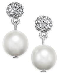 Charter Club - Metallic Silver-tone Fireball Imitation Pearl Drop Earrings - Lyst