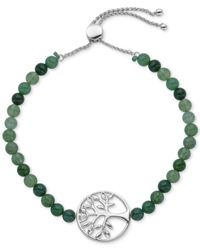 Giani Bernini | Metallic Green Agate (16-1/2 Ct. T.w.) Tree Of Life Slider Bracelet In Sterling Silver | Lyst
