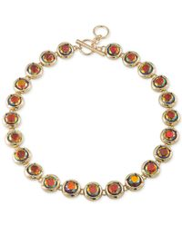 ABS By Allen Schwartz | Metallic Gold-tone Multicolor Stone Collar Necklace | Lyst