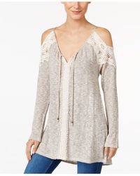 Style & Co. | Brown Cold-shoulder V-neck Tunic, Only At Macy's | Lyst