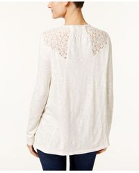 Style & Co. - White Petite Lace-trim Top - Lyst
