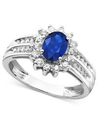 Macy's - Blue Sapphire (1 Ct. T.w.) And Diamond (1/3 Ct. T.w.) Ring In 14k White Gold - Lyst