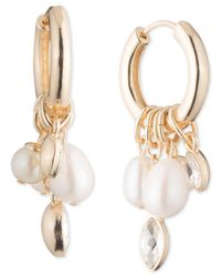 "Carolee - White Gold-tone Crystal & Imitation Pearl Charm 1 1/4"" Hoop Earrings - Lyst"