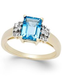 Macy's - Blue Topaz (2 Ct. T.w.) And Diamond (1/5 Ct. T.w.) Ring In 14k Gold - Lyst