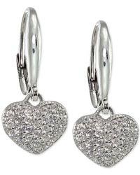 Macy's | Metallic Cubic Zirconia Glitter Pavé Heart Drop Earrings In Sterling Silver | Lyst