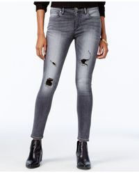 True Religion - Faded Black Wash Ripped Skinny Jeans - Lyst