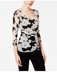 INC International Concepts | Black Printed Ruched Top | Lyst
