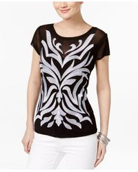 INC International Concepts | Black Embroidered Illusion Top | Lyst