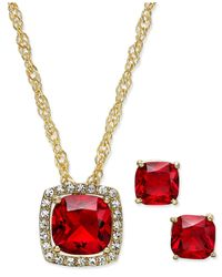 Charter Club | Metallic Gold-tone Red Stone Pendant Necklace And Stud Earrings Set | Lyst