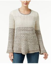 Style & Co. | Gray Colorblocked Knit-pattern Sweater | Lyst